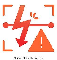 Energized symbol flat icon. Triangle electric hazard color...