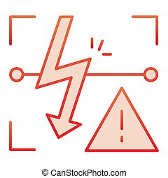 Energized symbol flat icon. Triangle electric hazard red...