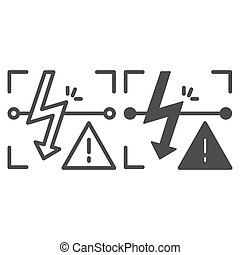 Energized symbol line and glyph icon. Triangle electric...
