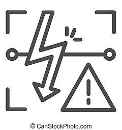 Energized symbol line icon. Triangle electric hazard sign...
