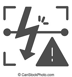 Energized symbol solid icon. Triangle electric hazard sign...