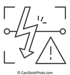 Energized symbol thin line icon. Triangle electric hazard...