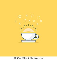 Energizing drink, refreshing tea and coffee cup
