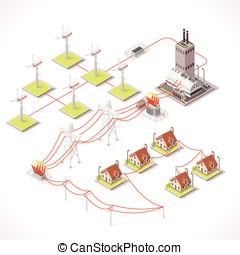 Energy 12 Infographic Isometric - Clean Energy Distribution...