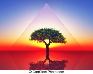 energy - a tree inside a transparent triangle on sunset...