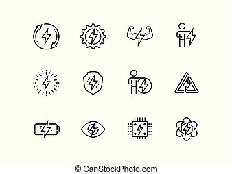 Energy and electricity related vector icon set in thin line...