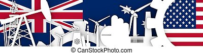 Energy and Power icons set. Header banner with Britain  USA flags