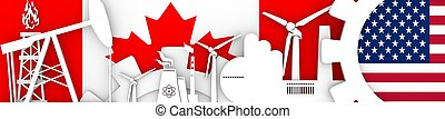 Energy and Power icons set. Header banner with Canada  USA flags