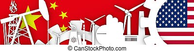 Energy and Power icons set. Header banner with China  USA flags