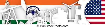 Energy and Power icons set. Header banner with India  USA flags
