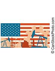 Energy and Power icons set with USA flag