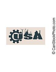 Energy and Power icons. USA word