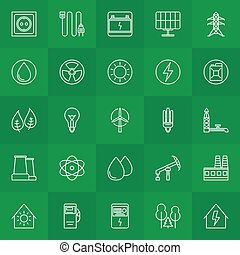 Energy and power linear icons