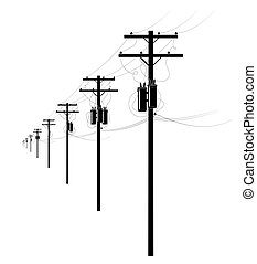 Energy and technology electrical post by the road with power line cables, transformers sky providing copy space