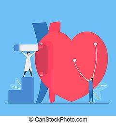 energy., arrhythmia., problème, signal, a, bradycardia, ou, coeur, slow., vecteur, cardiologie, périodique, échec, because, maladie, illustration., ceci, batterie, marques, non