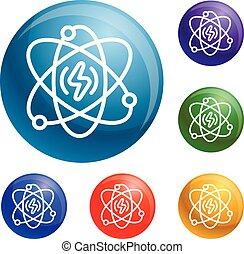 Energy atom icons set vector