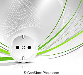 Energy background - Green power - outlet with abstract wire...