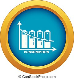 Energy battery consumption icon blue vector isolated