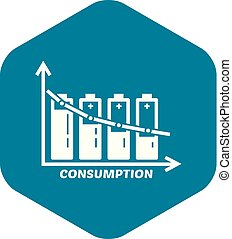 Energy battery consumption icon, simple style