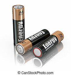 Energy battery - Energy batteries on white backround. Three-...