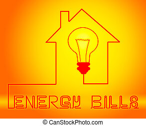 Energy Bills Showing Electric Power 3d Illustration