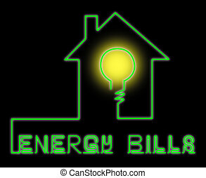 Energy Bills Shows Electric Power 3d Illustration