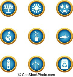 Energy carrier icons set, flat style