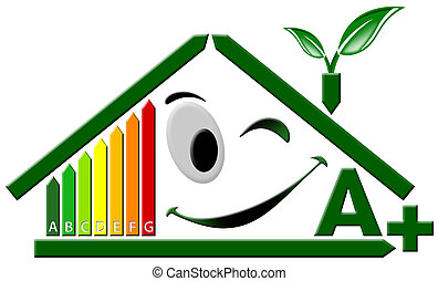 Energy Certification A - Green house stylized with ...