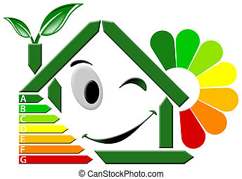 Energy Certification with flower - Green house stylized with...