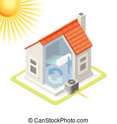 Energy Chain 02 Building Isometric - Heat Pump House Cooling...