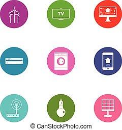 Energy change icons set, flat style