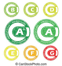 Energy class stamps from A+ to G
