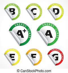 Energy class stickers from A+ to G