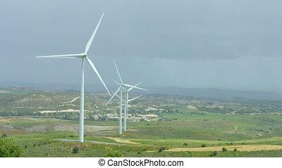 "energy"", collines, turbines, tourner, paysage vert, ""beautiful, vent"