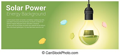 Energy concept background with solar panel in light bulb 6