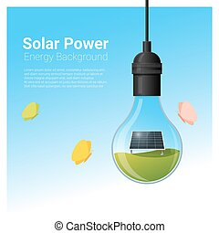 Energy concept background with solar panel in light bulb 1
