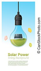Energy concept background with solar panel in light bulb 3