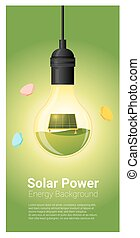 Energy concept background with solar panel in light bulb 4