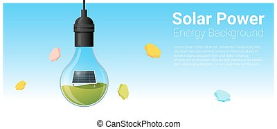Energy concept background with solar panel in light bulb 5