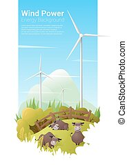 Energy concept background with wind turbine 14