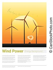 Energy concept background with wind turbine 21