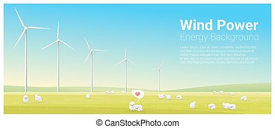 Energy concept background with wind turbine 26