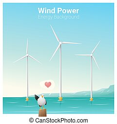 Energy concept background with wind turbine 30