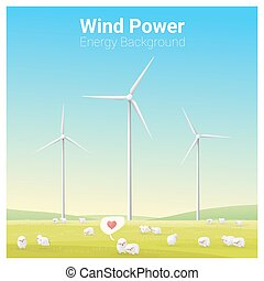 Energy concept background with wind turbine