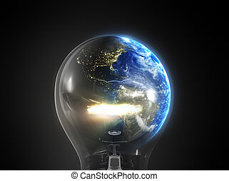 Energy concept - Blue earth in glowing bulb in space