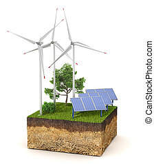 Energy concept. Cross section of ground with a wind electric station and solar panels. 3d illustration
