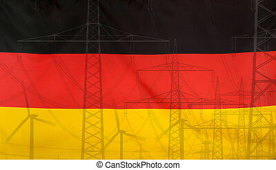 Energy Concept Germany Flag with power pole