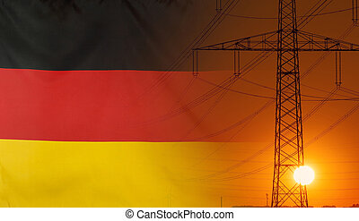 Energy Concept Germany Flag with sunset power pole