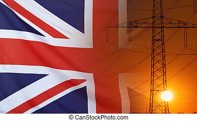 Energy Concept Great Britain Flag with sunset power pole