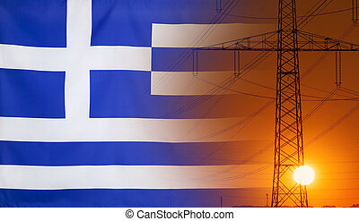 Energy Concept Greece Flag with sunset power pole